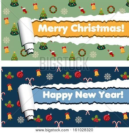 Red and green horizontal banners with torn rolled paper stripes and winter holidays pattern. Ripped festive winter holidays vector frames. New year and mery christmas greetings