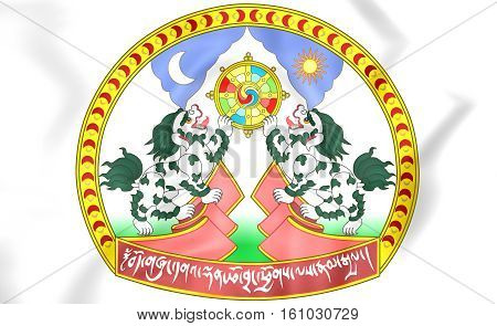 Tibet coat of arms. 3D Illustration. Close Up.