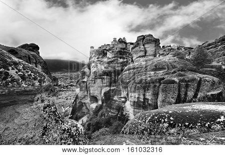 black and white photography of Meteora Kalambaka Greece