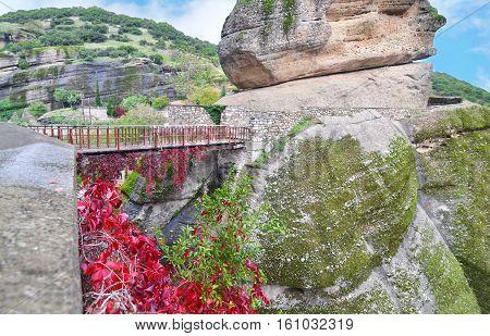 bridge that connects the mountains at Meteora Kalambaka Greece