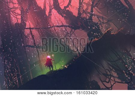 man with magic pole walking on giant tree in enchanted forest, illustration painting