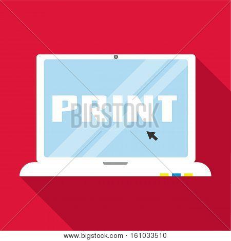 Print word on monitor icon. Flat illustration of print word on monitor vector icon for web design