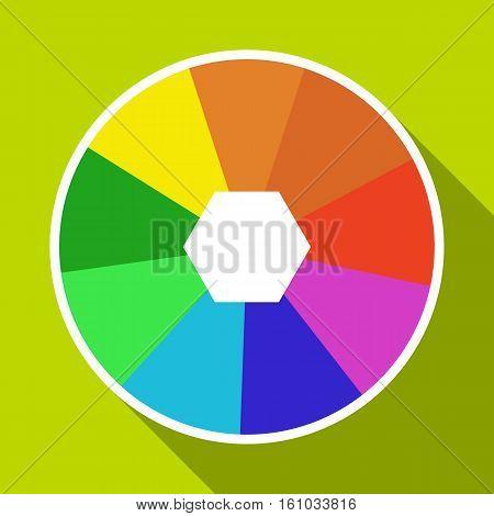 Color wheel icon. Flat illustration of color wheel vector icon for web design