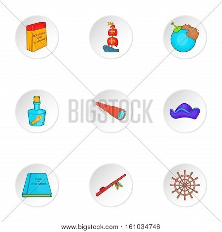 Geography icons set. Cartoon illustration of 9 geography vector icons for web