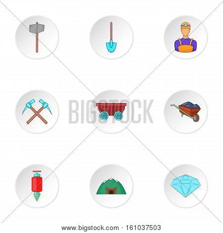 Mining activities icons set. Cartoon illustration of 9 mining activities vector icons for web