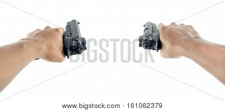 a hand holding dual hand gun on a white background