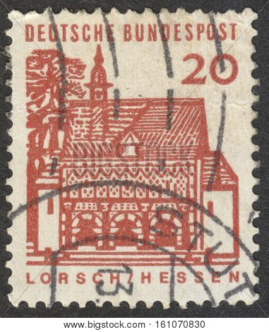 MOSCOW RUSSIA - CIRCA NOVEMBER 2016: a post stamp printed in GERMANY shows Gatehouse of Lorsch Hessen the series