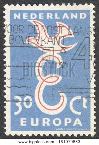 MOSCOW RUSSIA - CIRCA NOVEMBER 2016: a post stamp printed in NETHERLANDS shows a dove the series