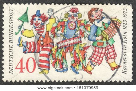 MOSCOW RUSSIA - CIRCA NOVEMBER 2016: a post stamp printed in GERMANY dedicated to the 150th Anniversary of the Carnival in Cologne circa 1972