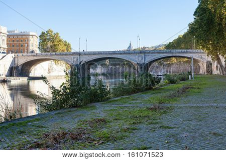 Tiber River And Bridge Ponte Umberto I In Rome