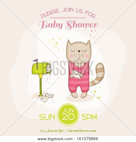 Baby Girl Cat with Mail - Baby Shower or Arrival Card - in vector