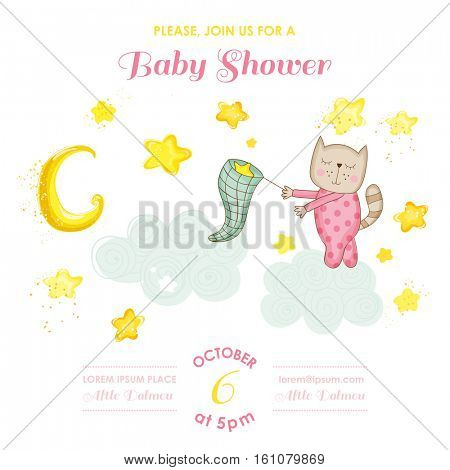 Baby Shower or Arrival Card - Baby Cat Girl Catching Stars - in vector