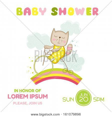 Baby Shower or Arrival Card - Baby Girl Cat on a Bike - in vector