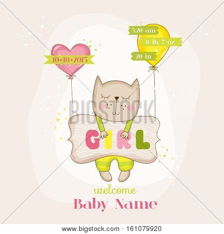Baby Girl Cat with Balloons - Baby Shower or Arrival Card - in vector