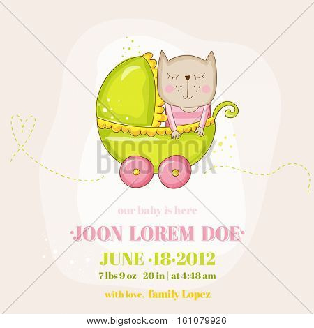 Cute Baby Girl Cat in a Carriage - Baby Shower or Arrival Card - in vector