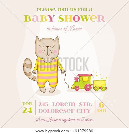 Baby Girl Cat with a Train - Baby Shower or Arrival Card - in vector
