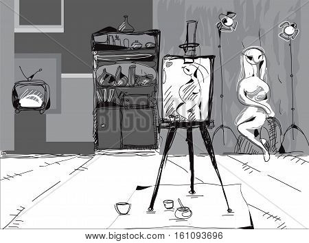 Illustration of artist studio with easel in the foreground and a model posing in the background black and white sketch