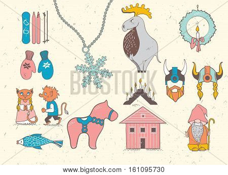 Set of attributes of the Scandinavian countries.Set with design elements of symbols of Sweden Denmark Iceland Norway: moose gnome snowflake skiing snowboard viking helmet wooden house mittens red wooden horse salmon candle troll Christmas wreath