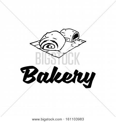 Cakes. Baker Badge. Bakery Label. Isolated On White Background Vector Illustration