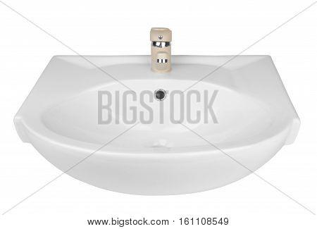 White washbasin isolated on a white background