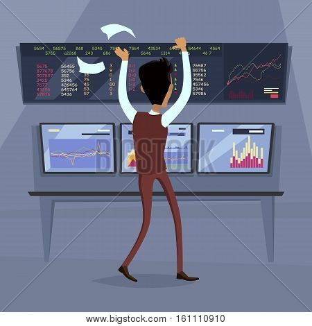 Business success illustration. Flat style design vector. Great deal, good day concept. Happy man with raised hands enjoying his success. Getting result. Online trading. Isolated on white background.