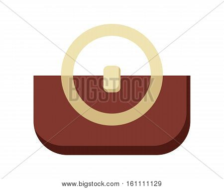 Brown ladies handbag in flat. Female handbag. Elegant ladies brown bag. Flat female accessories object. Isolated object on white background. Vector illustration.