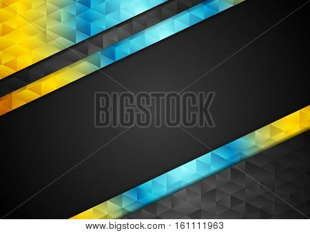Colorful contrast abstract tech low poly background. Triangles polygonal shapes vector design