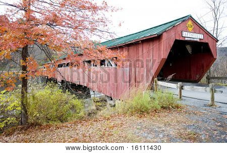 red covered wooden bridge (1836) in Taftsville, Vermont, USA