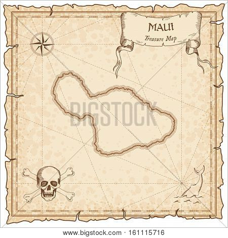 Maui Old Pirate Map. Sepia Engraved Parchment Template Of Treasure Island. Stylized Manuscript On Vi