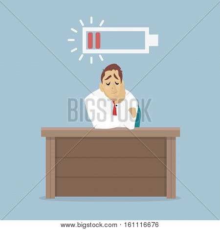 Businessman and stranded low battery of the work. Employee sit on the table, sad and exhausted.