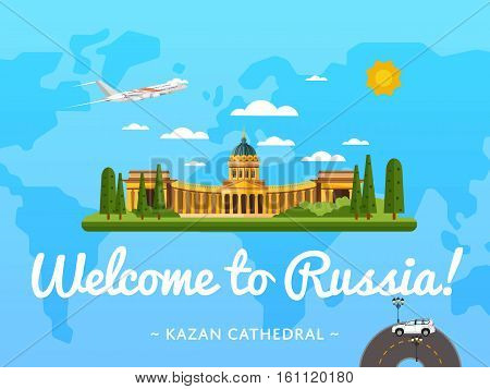 Welcome to Russia poster with famous attraction vector illustration. Travel design with Kazan Cathedral in Saint Petersburg. Worldwide landmark and historical place, tour guide for traveling agency