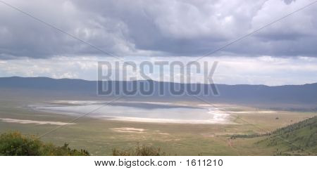 Ngorongoro Crater And Its Lake, Ngorongoro Park, Tanzania, Panorama
