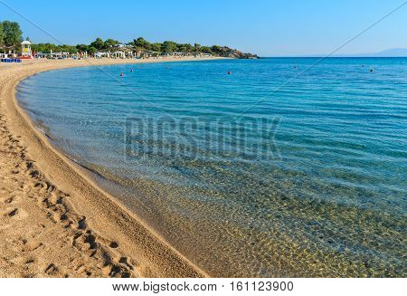 Summer morning sandy Platanitsi beach (Chalkidiki Greece).