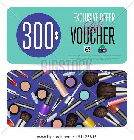 Cosmetics gift voucher template. Gift coupon with fashion makeup accessories and prepaid sum. Makeup brush, powder, lipstick, pencil, polish vectors. Special exclusive offer for cosmetics product sale