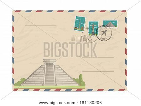 Chichen Itza Tulum Kukulcan crypt tomb pyramid, Mexico. Postal envelope with famous architectural composition, postage stamps and postmarks on white background vector illustration. Postal services.