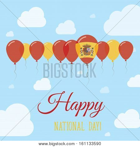 Spain National Day Flat Patriotic Poster. Row Of Balloons In Colors Of The Spanish Flag. Happy Natio