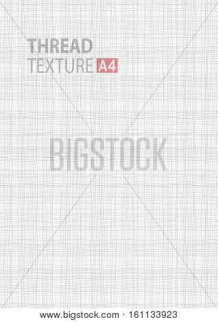 Light gray white line fabric texture in A4 vector size background,  thread gray pattern a4 vector backdrop vertical format. Vector fabric thread background illustration.