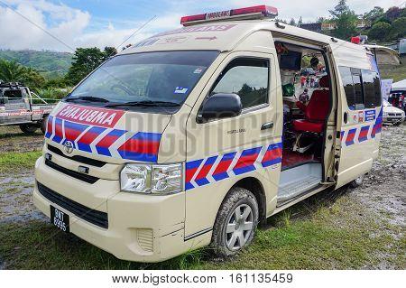 Kundasang,Sabah-Dec 10,2016:Ambulance waiting on standby during the motocross race cabbage feast at Ranau,Sabah on 10th Dec 2016.