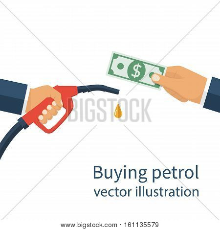 Buying petrol concept. Payment for fuel. Fuel pump in hand man in exchange for money. Petrol station. Vector illustration flat design style on a white background. Template for gasoline prices.