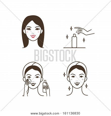 Woman removing make up with lotion. Vector illustration.