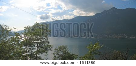 The Lake With Some Trees In Foreground, Come Lake, Italia, Panorama