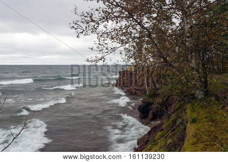 Storm on Lake Superior near Big Bay point, Michigan, USA