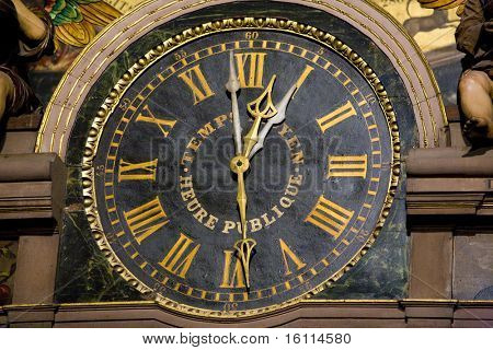 detail of horologe in Cathedral Notre Dame, Strasbourg, Alsace, France