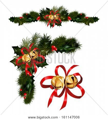 Christmas decorations with fir tree golden jingle bells and decorative elements. vector illustration