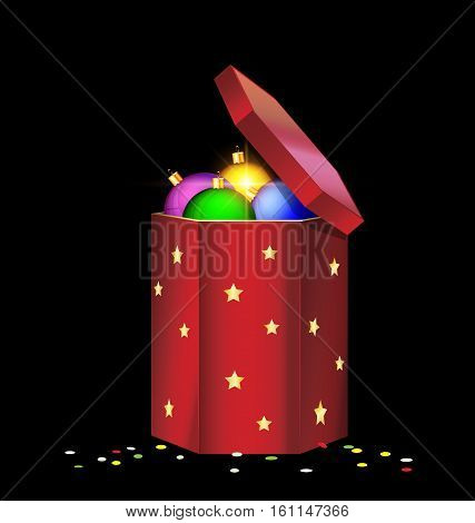 black background and the large red gift box with decorative colored balls inside