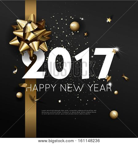 Happy New Year 2017 greeting card or poster template flyer or invitation design. Beautiful luxury holiday background with 3D golden gift bow. Vector Illustration.