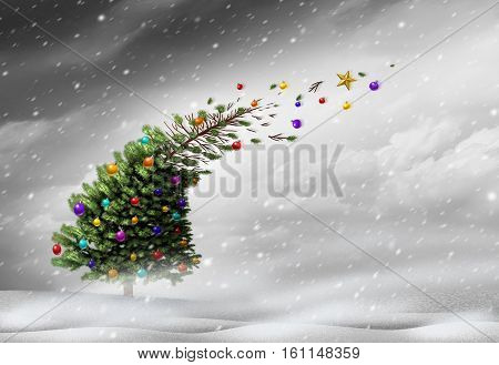 Concept of christmas holiday stress or winter blizzard storm as a christmas tree getting blown away by strong extreme weather winds with ornaments flying with 3D illustration elements.