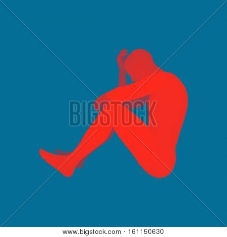 Man in a Thinker Pose. 3D Model of Man. Vector Illustration.