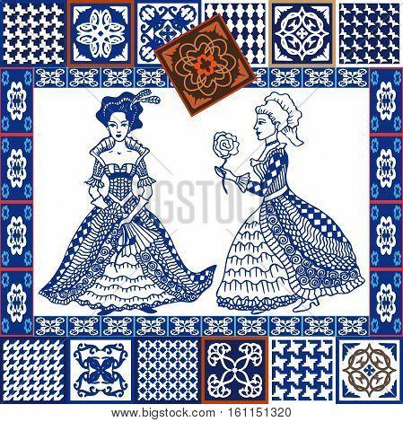 Glazed tiled borders. Vintage tiles collection. Spanish, Portuguese, Moroccan motifs. Mediterranean ceramic.