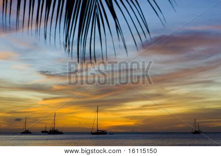 sunset over the Caribbean Sea, Grand Anse Bay, Grenada
